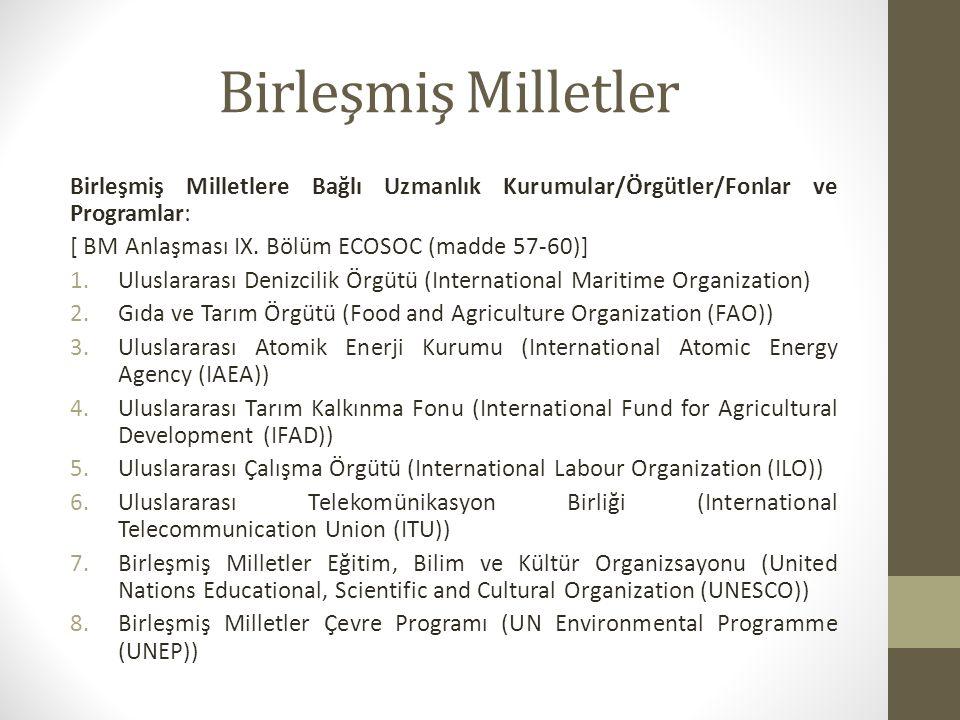 Birleşmiş Milletler Birleşmiş Milletlere Bağlı Uzmanlık Kurumular/Örgütler/Fonlar ve Programlar: [ BM Anlaşması IX. Bölüm ECOSOC (madde 57-60)] 1.Ulus