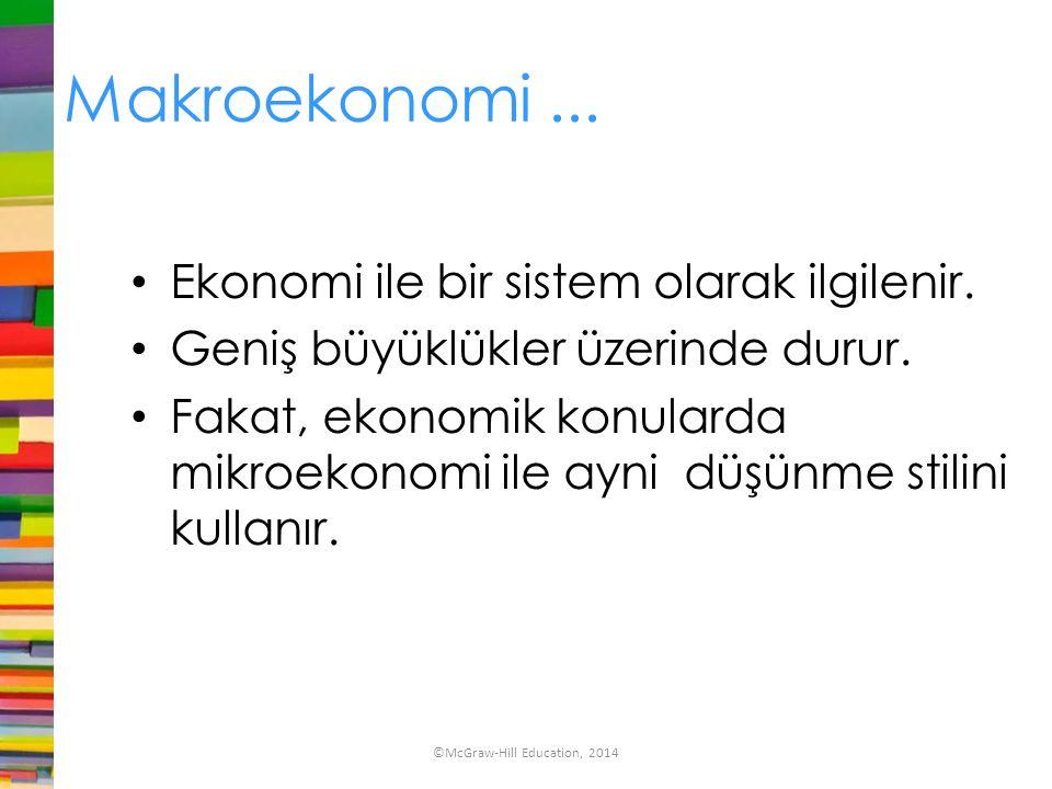 Makroekonomi... Ekonomi ile bir sistem olarak ilgilenir. Geniş büyüklükler üzerinde durur. Fakat, ekonomik konularda mikroekonomi ile ayni düşünme sti