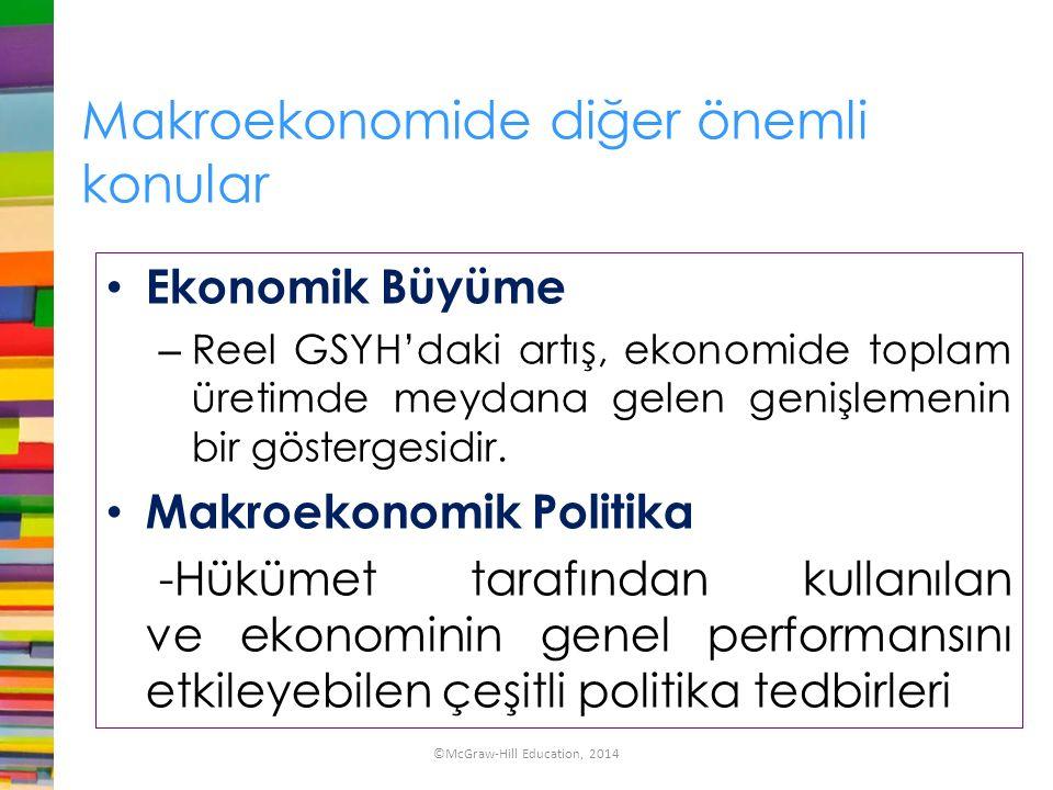 Makroekonomide diğer önemli konular Ekonomik Büyüme – Reel GSYH'daki artış, ekonomide toplam üretimde meydana gelen genişlemenin bir göstergesidir. Ma