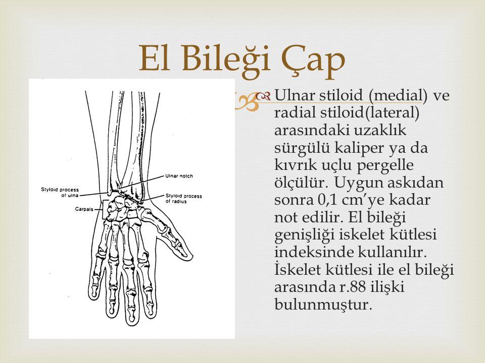   Ulnar stiloid (medial) ve radial stiloid(lateral) arasındaki uzaklık sürgülü kaliper ya da kıvrık uçlu pergelle ölçülür.