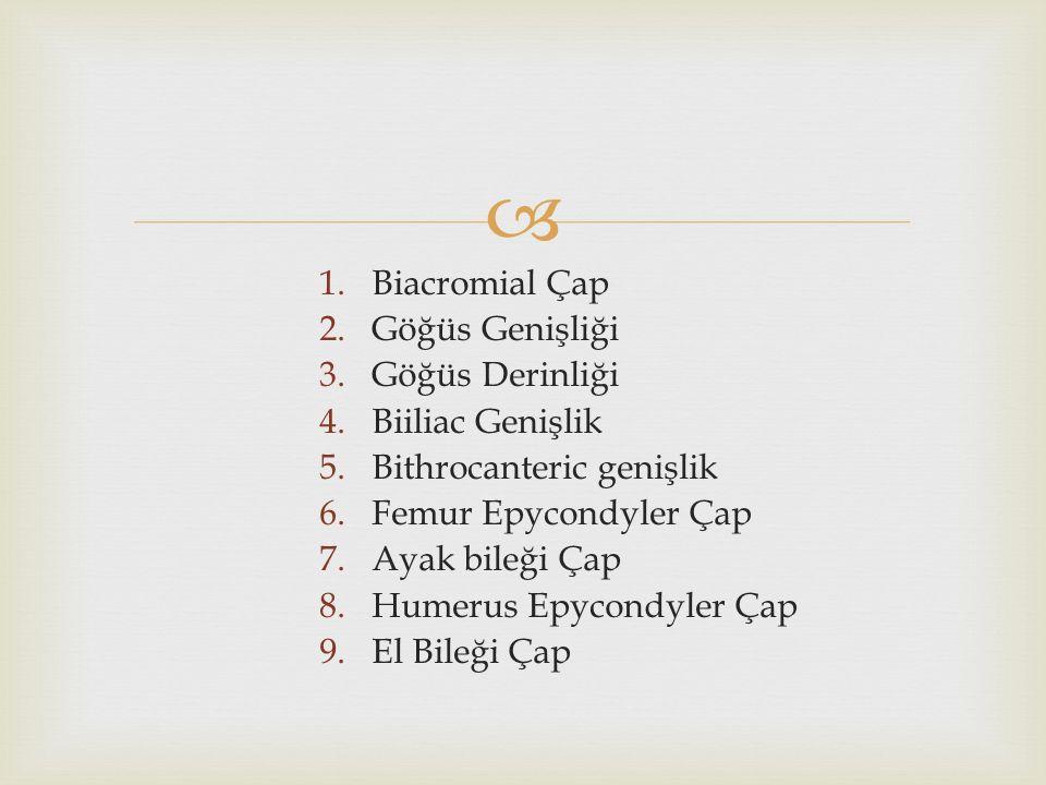  1.Biacromial Çap 2.Göğüs Genişliği 3.Göğüs Derinliği 4.Biiliac Genişlik 5.Bithrocanteric genişlik 6.Femur Epycondyler Çap 7.Ayak bileği Çap 8.Humerus Epycondyler Çap 9.El Bileği Çap