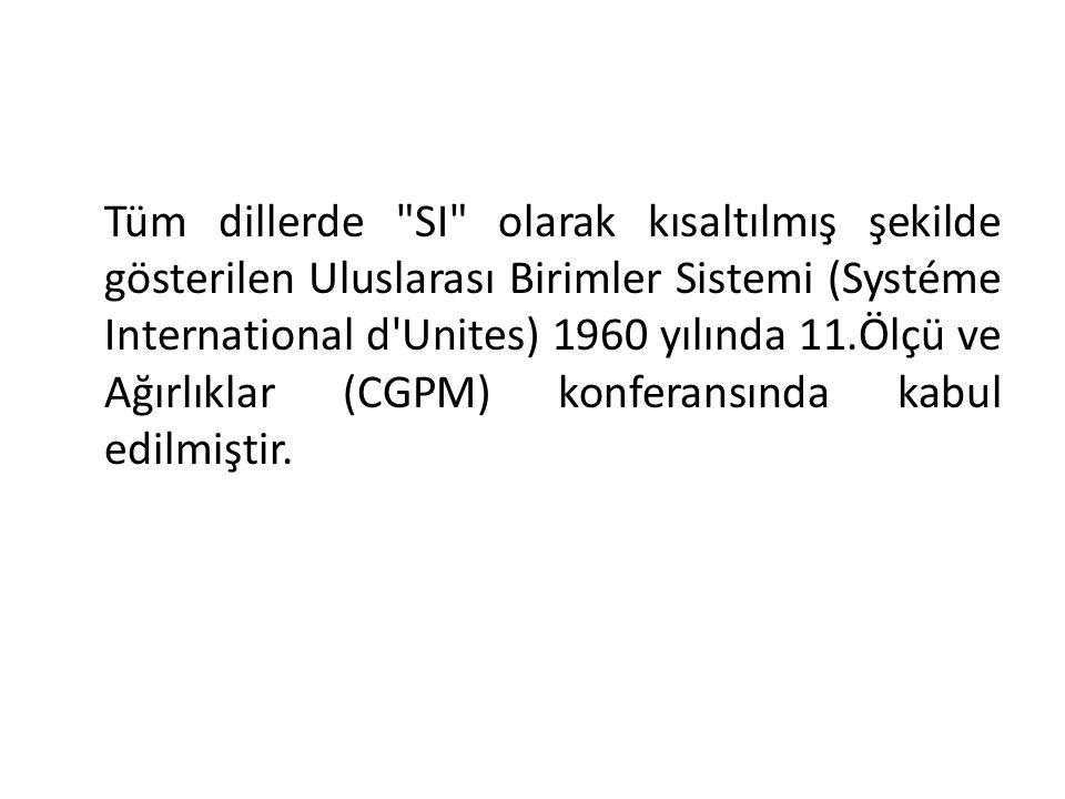 Tüm dillerde SI olarak kısaltılmış şekilde gösterilen Uluslarası Birimler Sistemi (Systéme International d Unites) 1960 yılında 11.Ölçü ve Ağırlıklar (CGPM) konferansında kabul edilmiştir.