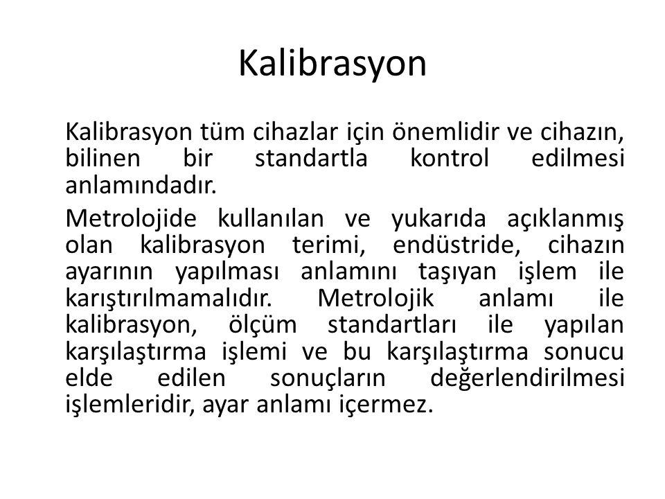 Kalibrasyon Kalibrasyon tüm cihazlar için önemlidir ve cihazın, bilinen bir standartla kontrol edilmesi anlamındadır.