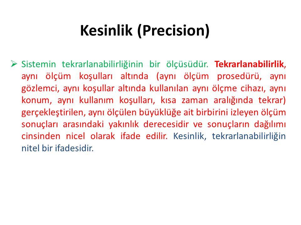 Kesinlik (Precision)  Sistemin tekrarlanabilirliğinin bir ölçüsüdür.