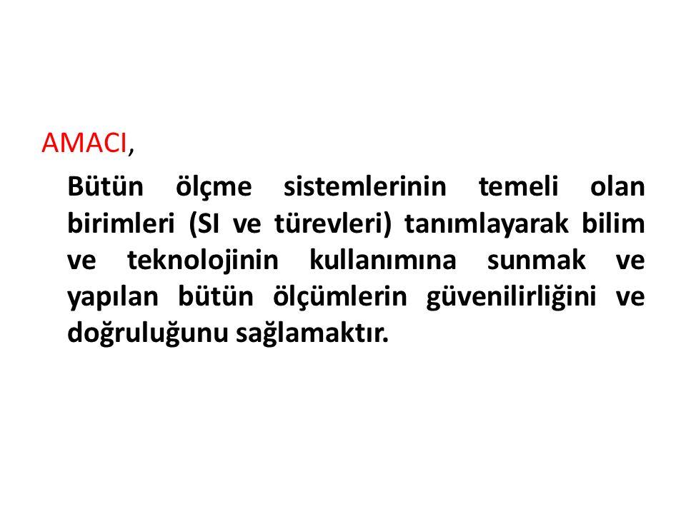 SI-Uluslarası Birimler Sistemi 7 Temel birim ve bu birimlerden elde edilmiş olan türetilmiş birimlerden ibarettir.