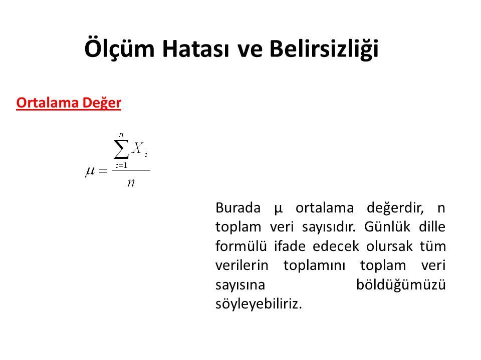 Ölçüm Hatası ve Belirsizliği Ortalama Değer Burada μ ortalama değerdir, n toplam veri sayısıdır.