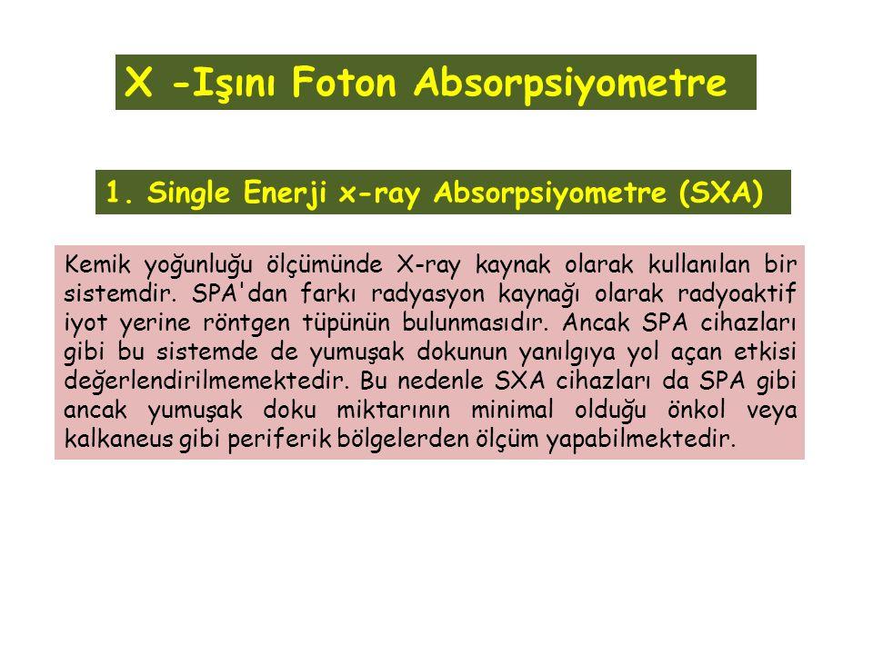 1. Single Enerji x-ray Absorpsiyometre (SXA) Kemik yoğunluğu ölçümünde X-ray kaynak olarak kullanılan bir sistemdir. SPA'dan farkı radyasyon kaynağı o