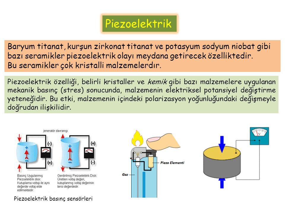 Piezoelektrik Materyaller Piezoelektrik malzemelerin kullanılan tipi çoğunlukla Kurşun-Zrkonyum-Titanyum (PZT) piezoseramiklerdir.