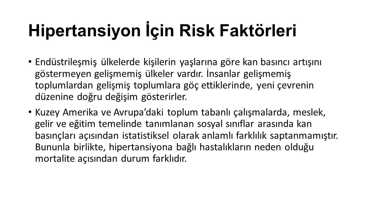 Hipertansiyon İçin Risk Faktörleri Endüstrileşmiş ülkelerde kişilerin yaşlarına göre kan basıncı artışını göstermeyen gelişmemiş ülkeler vardır. İnsan