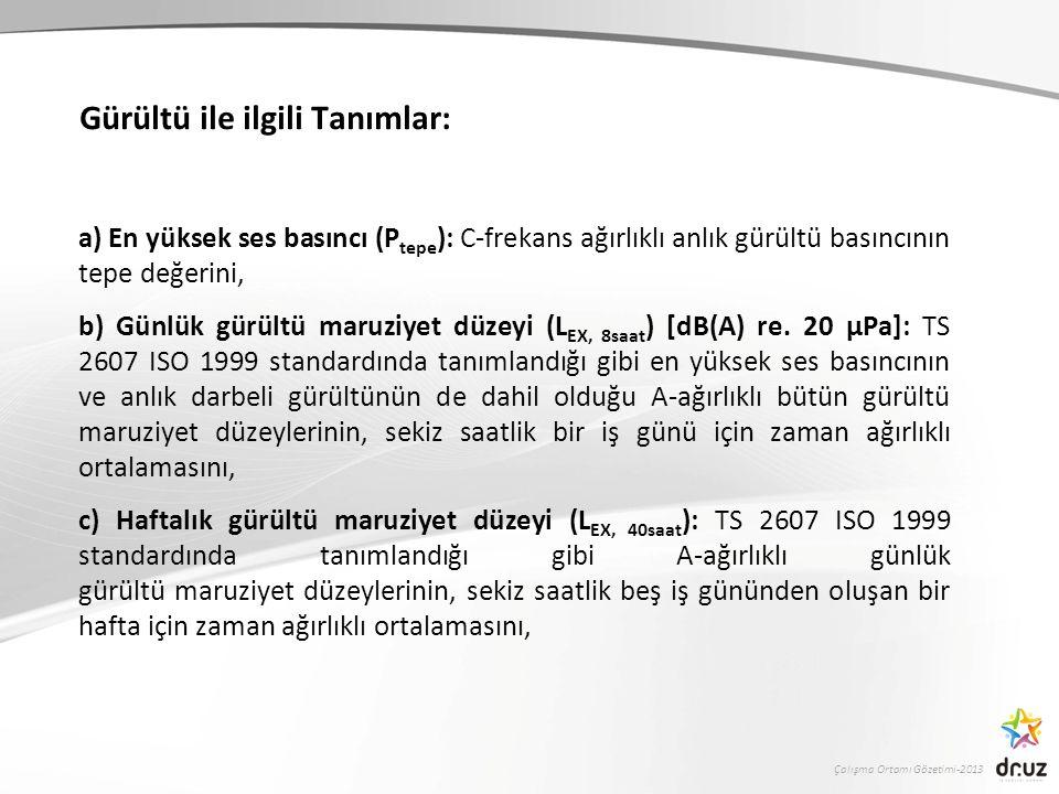 Çalışma Ortamı Gözetimi-2013 Gürültü ile ilgili Tanımlar: a) En yüksek ses basıncı (P tepe ): C-frekans ağırlıklı anlık gürültü basıncının tepe değerini, b) Günlük gürültü maruziyet düzeyi (L EX, 8saat ) [dB(A) re.