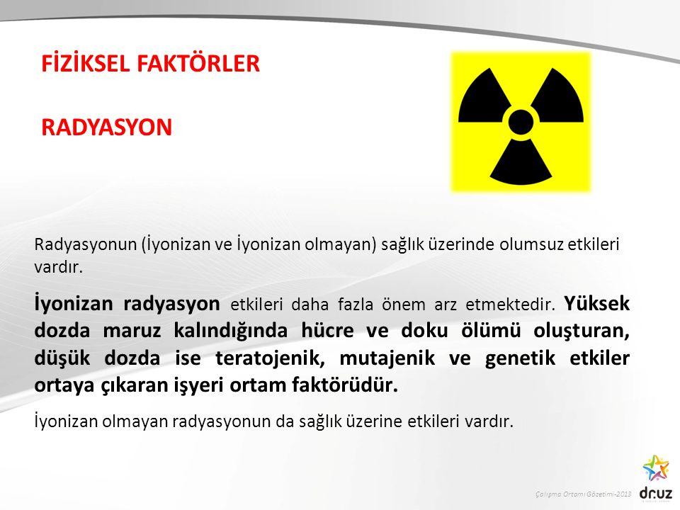 Çalışma Ortamı Gözetimi-2013 Radyasyonun (İyonizan ve İyonizan olmayan) sağlık üzerinde olumsuz etkileri vardır.
