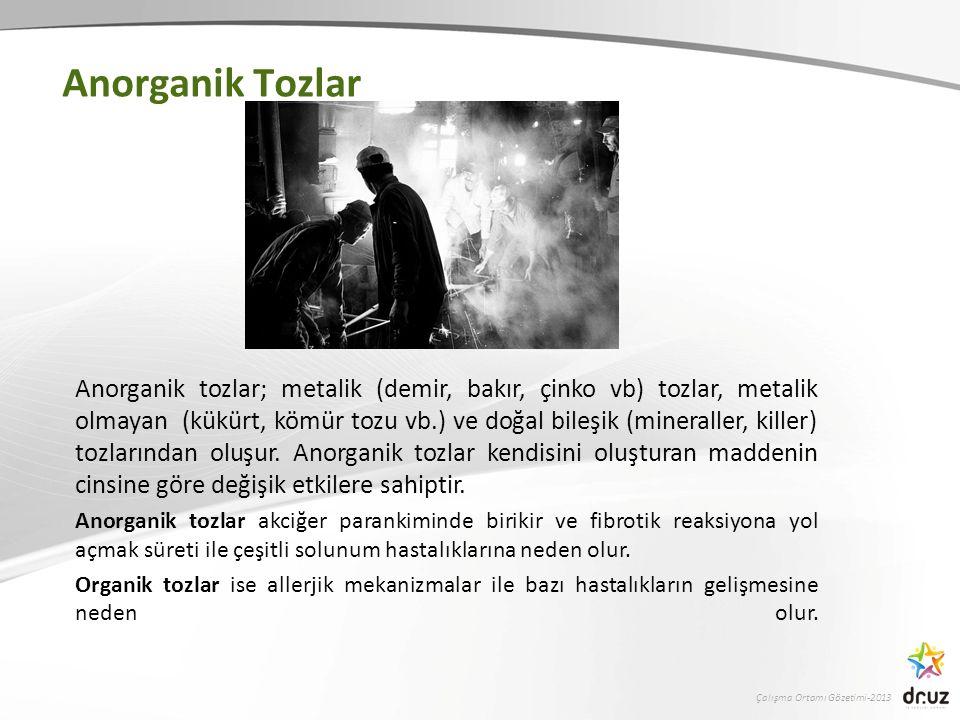 Çalışma Ortamı Gözetimi-2013 Anorganik Tozlar Anorganik tozlar; metalik (demir, bakır, çinko vb) tozlar, metalik olmayan (kükürt, kömür tozu vb.) ve doğal bileşik (mineraller, killer) tozlarından oluşur.