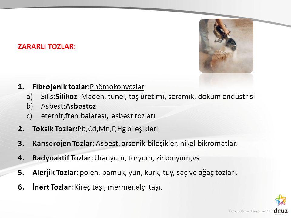 Çalışma Ortamı Gözetimi-2013 ZARARLI TOZLAR: 1.Fibrojenik tozlar:Pnömokonyozlar a)Silis:Silikoz -Maden, tünel, taş üretimi, seramik, döküm endüstrisi b)Asbest:Asbestoz c)eternit,fren balatası, asbest tozları 2.Toksik Tozlar:Pb,Cd,Mn,P,Hg bileşikleri.
