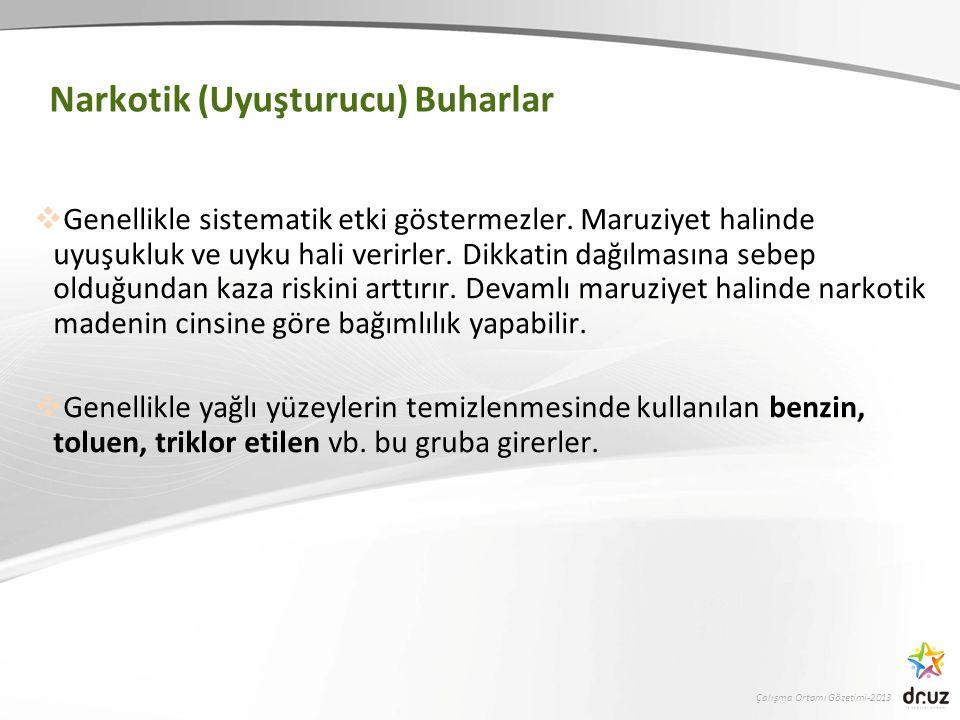 Çalışma Ortamı Gözetimi-2013 Narkotik (Uyuşturucu) Buharlar  Genellikle sistematik etki göstermezler.