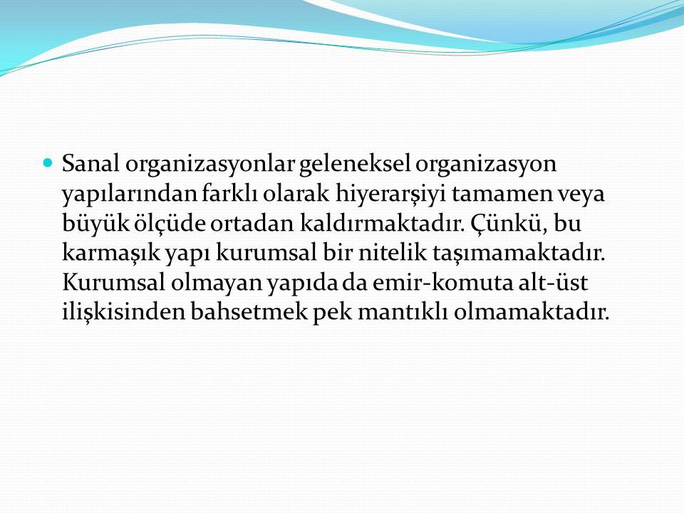Sanal organizasyonlar geleneksel organizasyon yapılarından farklı olarak hiyerarşiyi tamamen veya büyük ölçüde ortadan kaldırmaktadır.