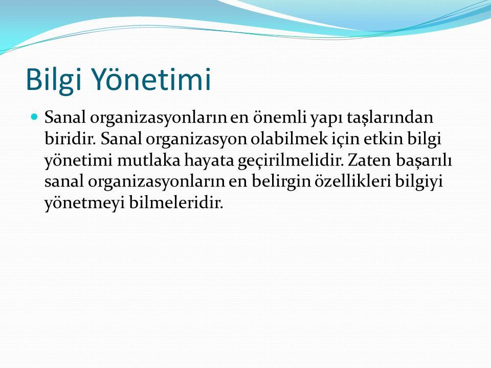 Bilgi Yönetimi Sanal organizasyonların en önemli yapı taşlarından biridir.