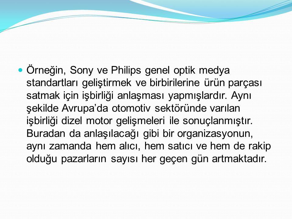 Örneğin, Sony ve Philips genel optik medya standartları geliştirmek ve birbirilerine ürün parçası satmak için işbirliği anlaşması yapmışlardır.