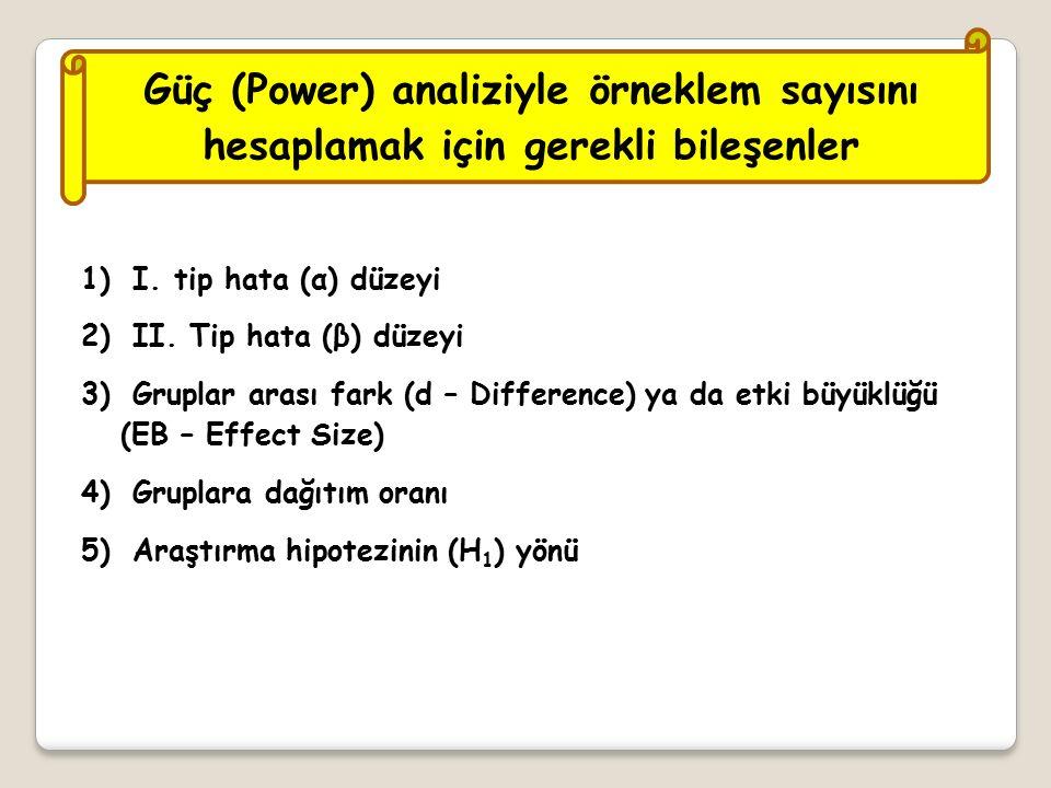 Güç (Power) analiziyle örneklem sayısını hesaplamak için gerekli bileşenler 1) I.