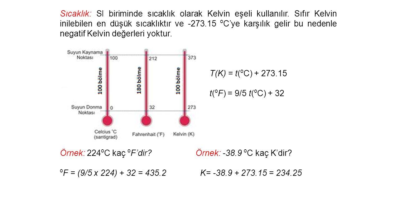 Sıcaklık: SI biriminde sıcaklık olarak Kelvin eşeli kullanılır.