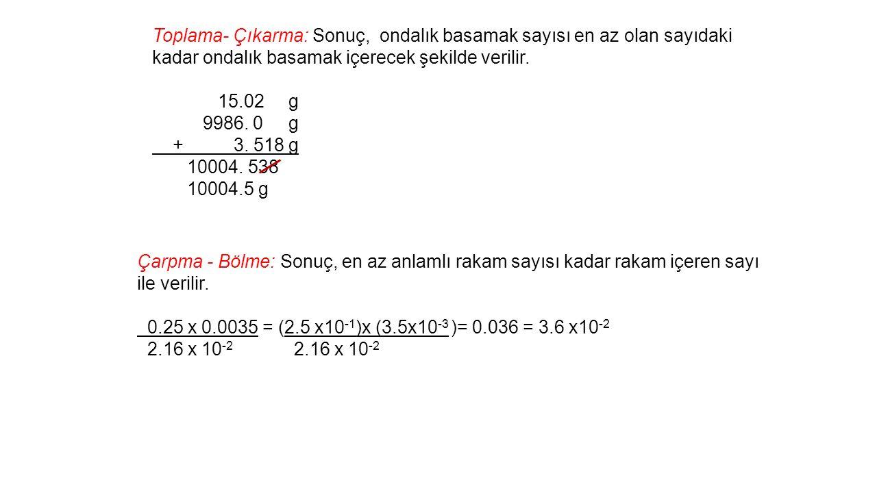 Çarpma - Bölme: Sonuç, en az anlamlı rakam sayısı kadar rakam içeren sayı ile verilir.