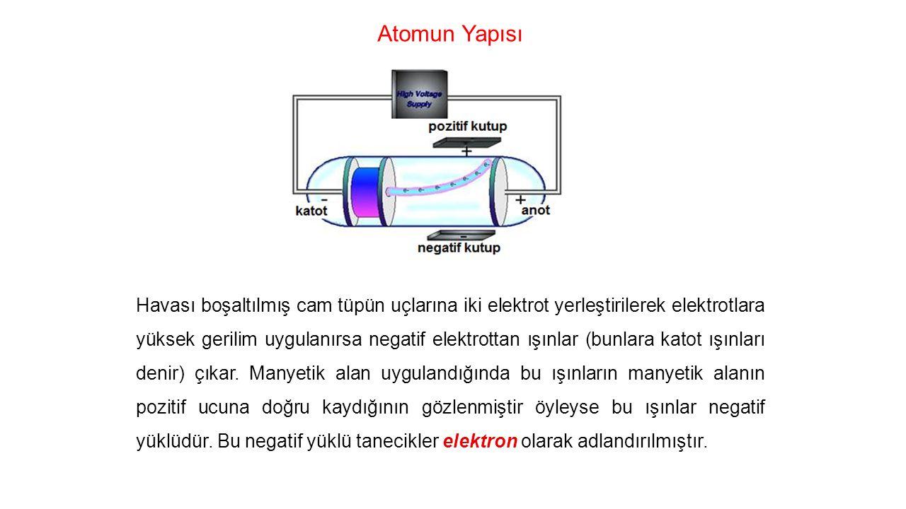Atomun Yapısı Havası boşaltılmış cam tüpün uçlarına iki elektrot yerleştirilerek elektrotlara yüksek gerilim uygulanırsa negatif elektrottan ışınlar (bunlara katot ışınları denir) çıkar.