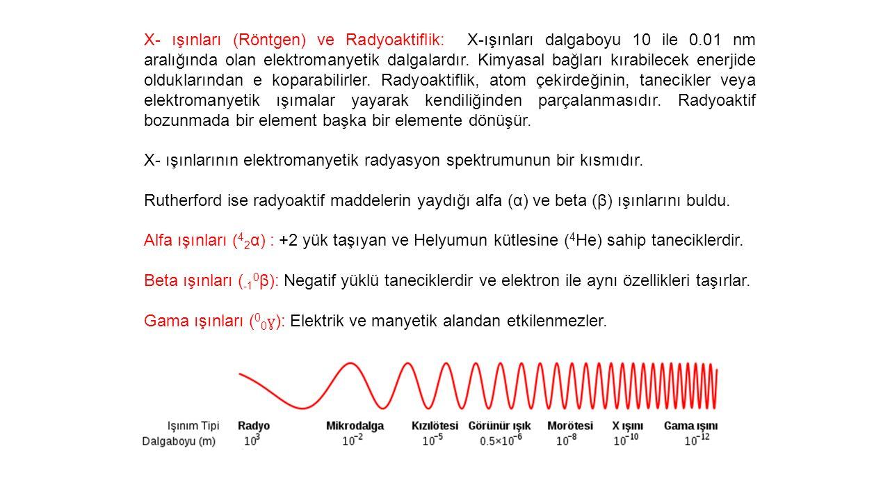 X- ışınları (Röntgen) ve Radyoaktiflik: X-ışınları dalgaboyu 10 ile 0.01 nm aralığında olan elektromanyetik dalgalardır.