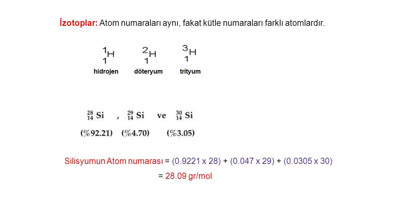 Silisyumun Atom numarası = (0.9221 x 28) + (0.047 x 29) + (0.0305 x 30) = 28.09 gr/mol İzotoplar: Atom numaraları aynı, fakat kütle numaraları farklı atomlardır.
