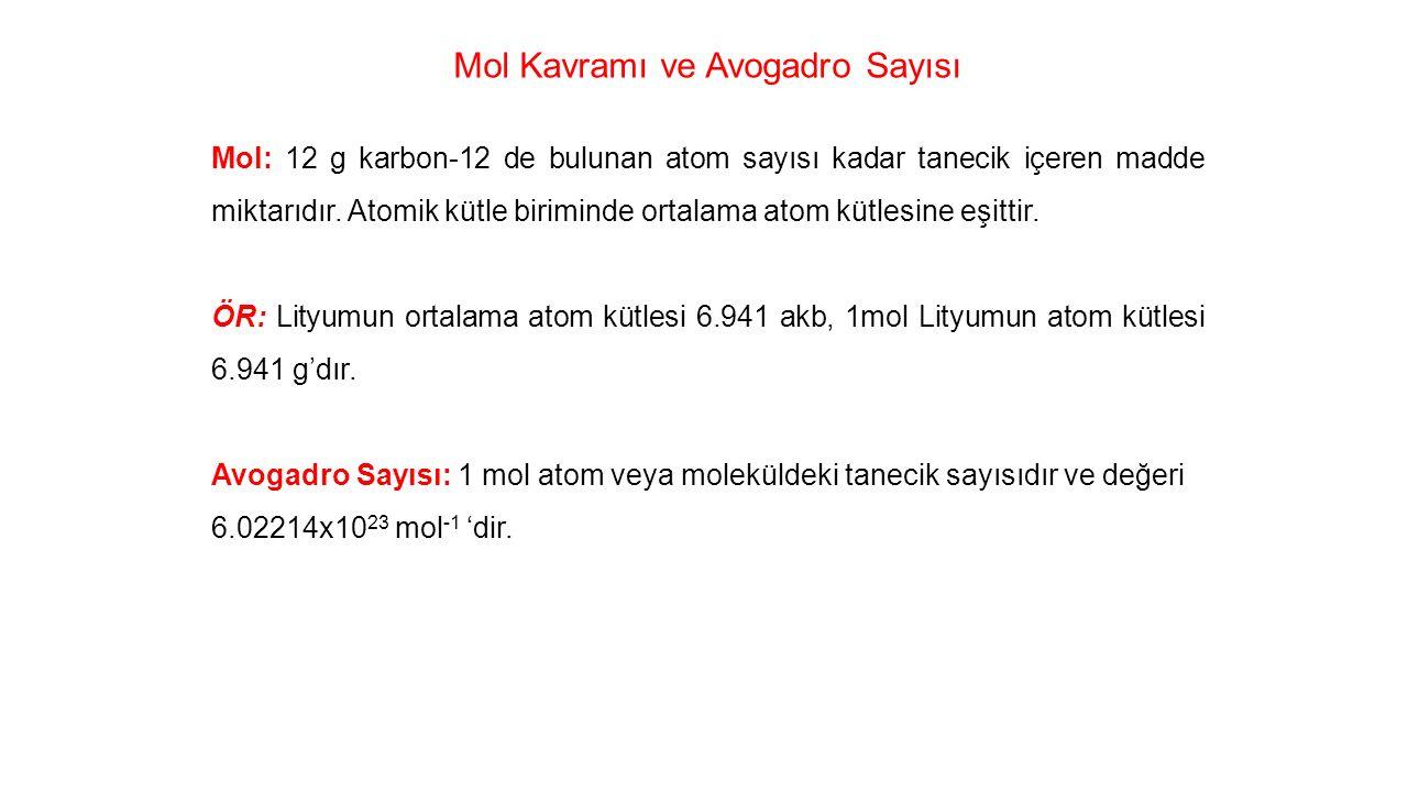Mol Kavramı ve Avogadro Sayısı Mol: 12 g karbon-12 de bulunan atom sayısı kadar tanecik içeren madde miktarıdır.