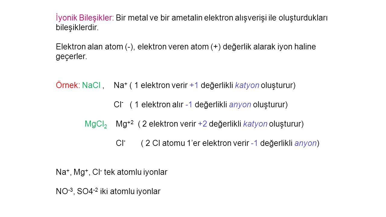 İyonik Bileşikler: Bir metal ve bir ametalin elektron alışverişi ile oluşturdukları bileşiklerdir.