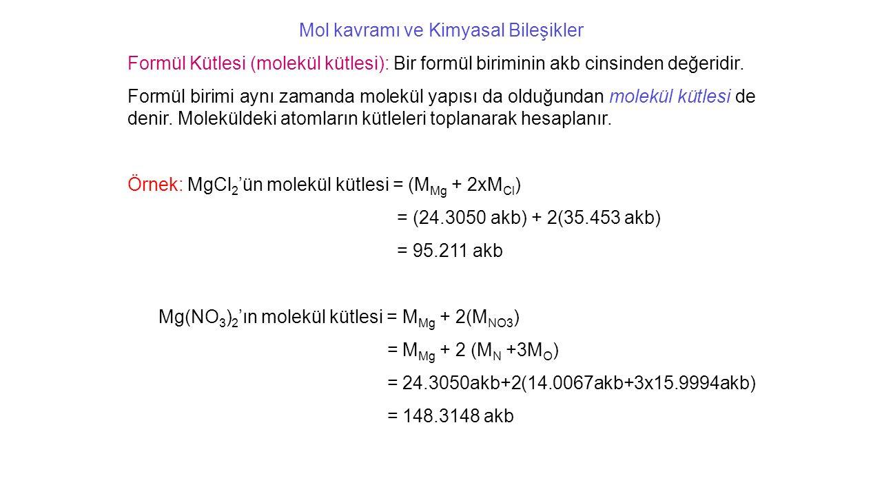 Mol kavramı ve Kimyasal Bileşikler Formül Kütlesi (molekül kütlesi): Bir formül biriminin akb cinsinden değeridir.
