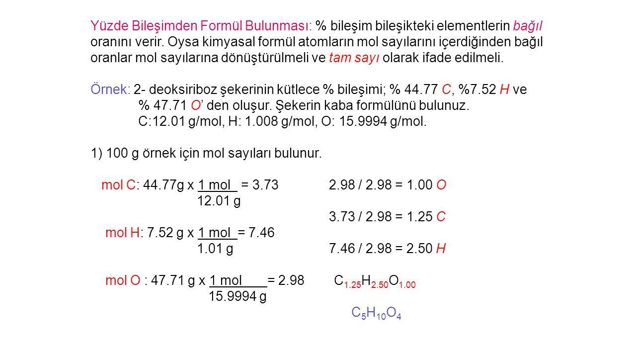 Yüzde Bileşimden Formül Bulunması: % bileşim bileşikteki elementlerin bağıl oranını verir.
