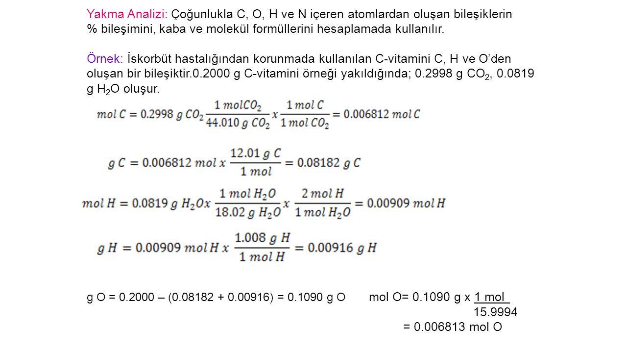 Yakma Analizi: Çoğunlukla C, O, H ve N içeren atomlardan oluşan bileşiklerin % bileşimini, kaba ve molekül formüllerini hesaplamada kullanılır.