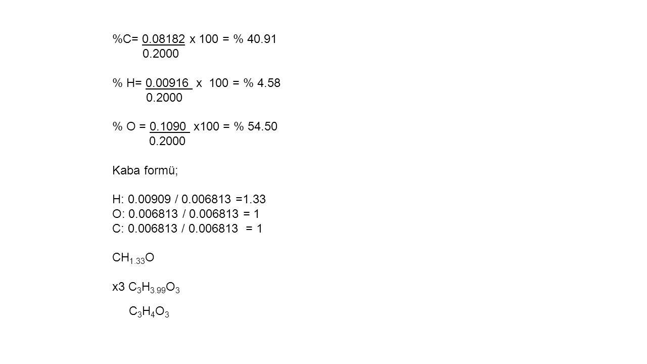 %C= 0.08182 x 100 = % 40.91 0.2000 % H= 0.00916 x 100 = % 4.58 0.2000 % O = 0.1090 x100 = % 54.50 0.2000 Kaba formü; H: 0.00909 / 0.006813 =1.33 O: 0.006813 / 0.006813 = 1 C: 0.006813 / 0.006813 = 1 CH 1.33 O x3 C 3 H 3.99 O 3 C 3 H 4 O 3