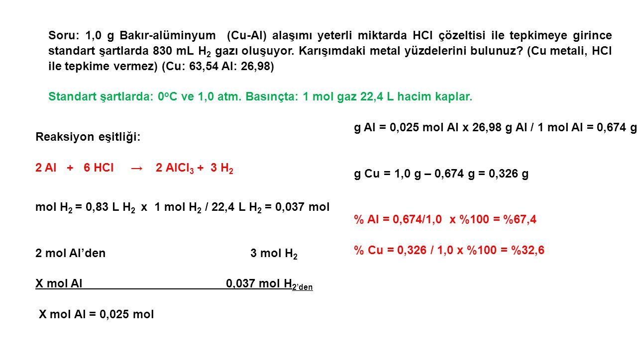 Soru: 1,0 g Bakır-alüminyum (Cu-AI) alaşımı yeterli miktarda HCI çözeltisi ile tepkimeye girince standart şartlarda 830 mL H 2 gazı oluşuyor.