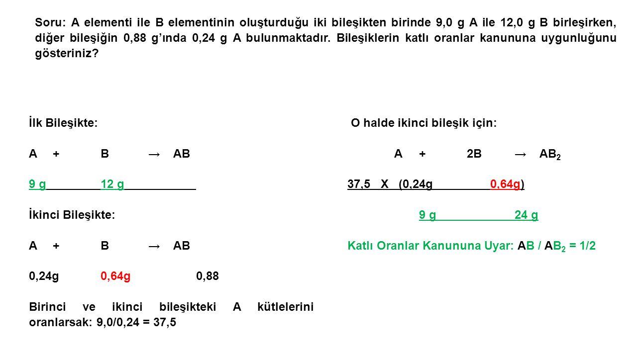 Soru: A elementi ile B elementinin oluşturduğu iki bileşikten birinde 9,0 g A ile 12,0 g B birleşirken, diğer bileşiğin 0,88 g'ında 0,24 g A bulunmaktadır.