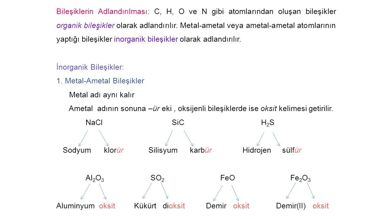 Bileşiklerin Adlandırılması: C, H, O ve N gibi atomlarından oluşan bileşikler organik bileşikler olarak adlandırılır.