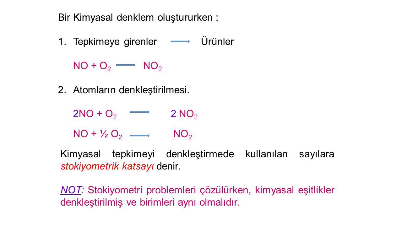 Bir Kimyasal denklem oluştururken ; 1.Tepkimeye girenler Ürünler NO + O 2 NO 2 2.Atomların denkleştirilmesi.