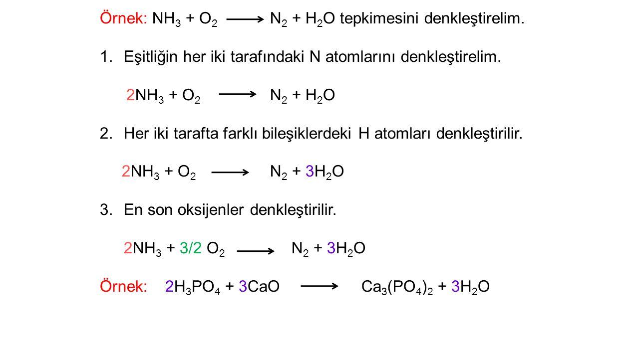 Örnek: NH 3 + O 2 N 2 + H 2 O tepkimesini denkleştirelim.