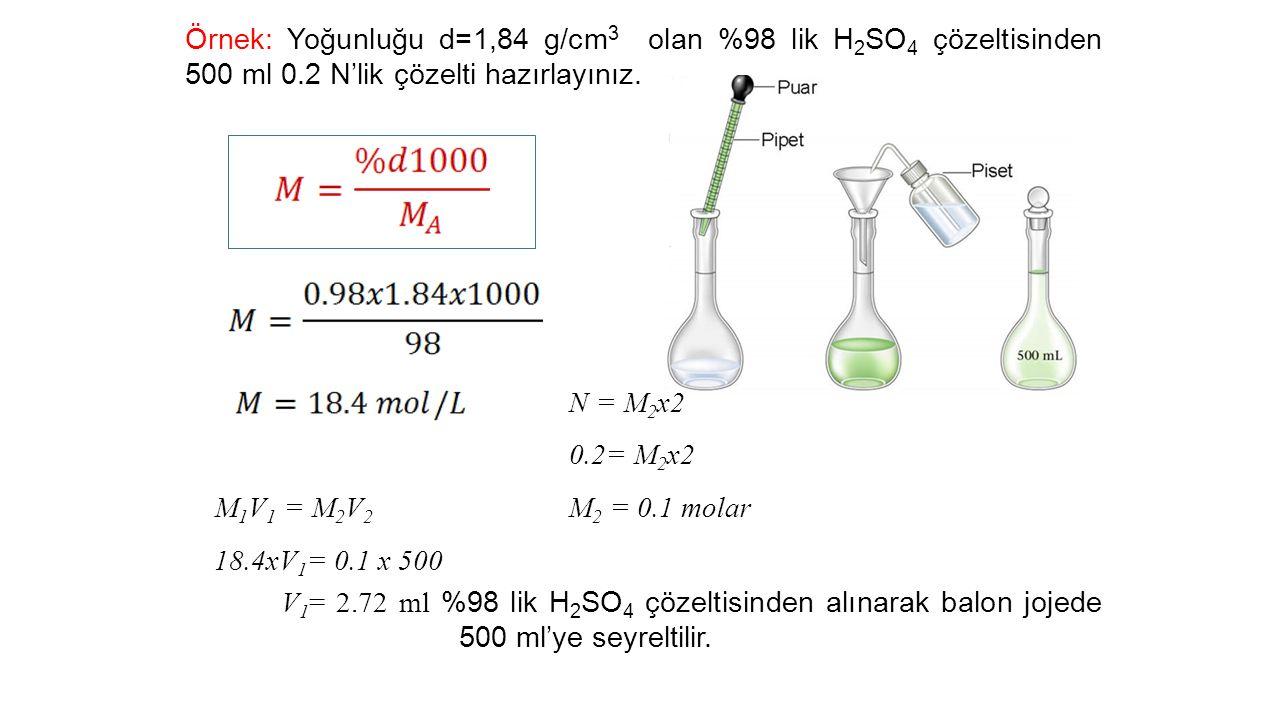 Örnek: Yoğunluğu d=1,84 g/cm 3 olan %98 lik H 2 SO 4 çözeltisinden 500 ml 0.2 N'lik çözelti hazırlayınız.