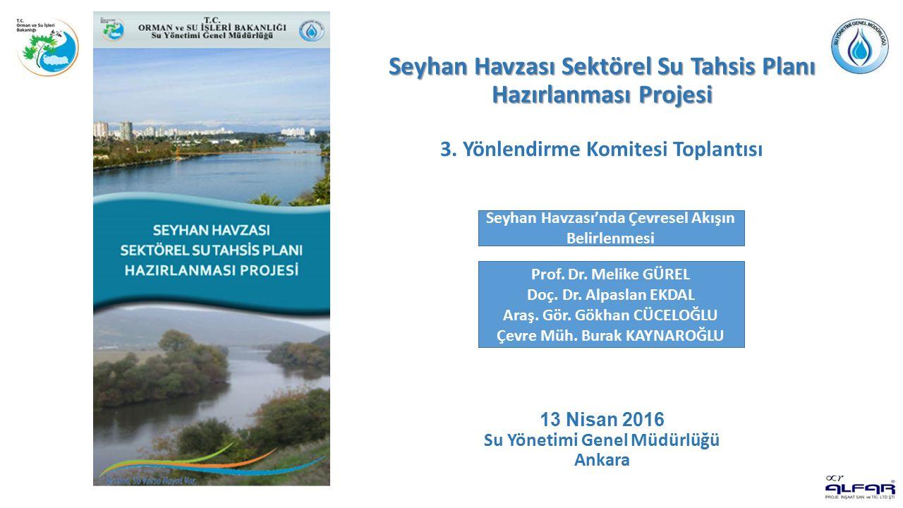 Seyhan Havzası Sektörel Su Tahsis Planı Hazırlanması Projesi Göksu Alt Havzası - Kurak Dönem Sarız İstasyonu SPI Kuraklık İndeksi değerleri (12-aylık dönem) Akarsu Kolu İstasyon Adı Akım Ölçüm Yılları Kurak Dönem Analizi Yapılan Yıllar Göksu NehriE18A005(1939-2001) ve (2003-2011)1955-1965 Göksu Alt Havzası'nda akım ölçümü yapılan ve kurak dönem analizi için seçilen istasyon ve yıllar E18A005 Nolu istasyonda 1955-1965 periyodu için elde edilen aylık çevresel akış grafiği E18A005 istasyonunda 1939-2001 ve 2003-2011 yılları arasında minimum akımlar kullanılarak elde edilen aylık çevresel akış grafiği E18A005 istasyonunda 1939-2001 ve 2003-2011 periyodu için elde edilen aylık çevresel akış grafiği