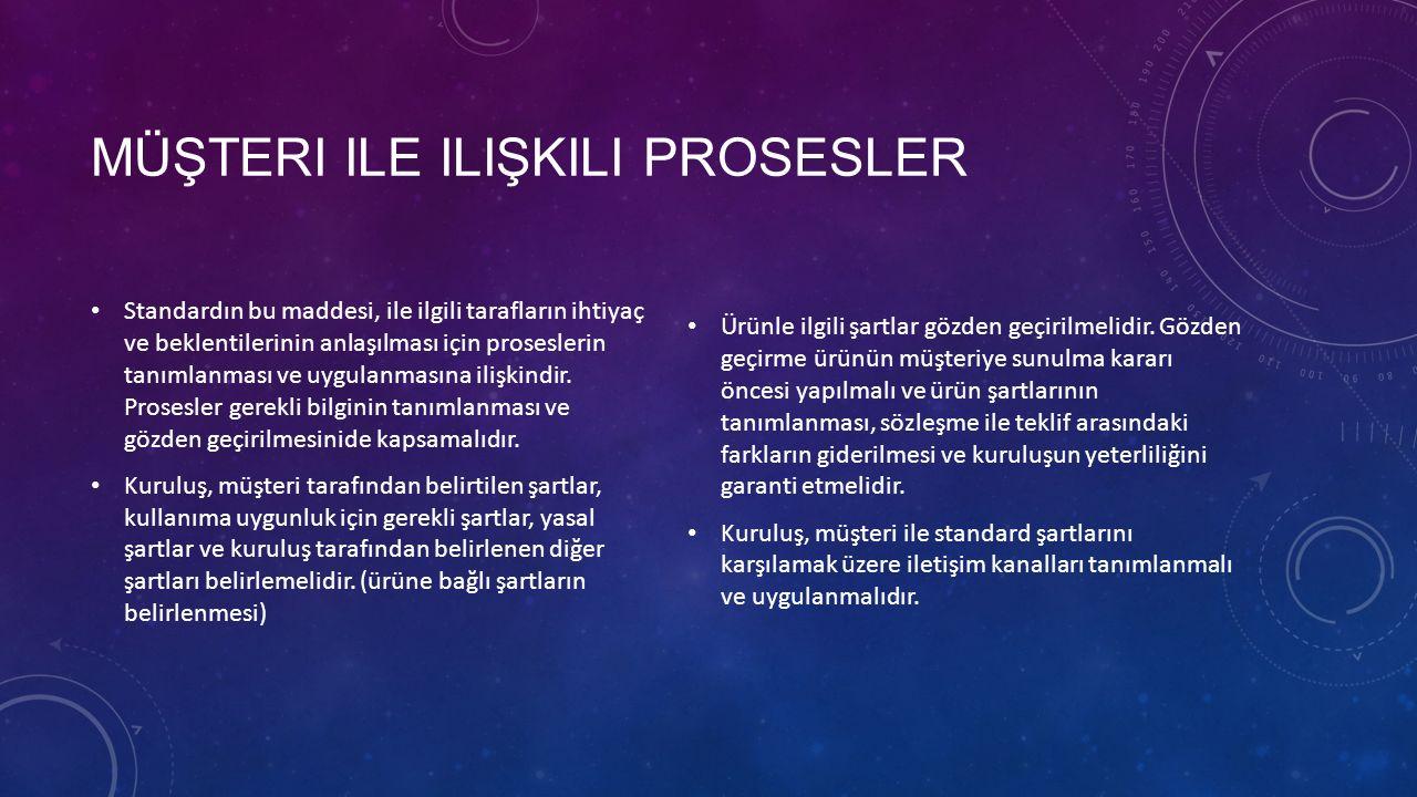 MÜŞTERI ILE ILIŞKILI PROSESLER Standardın bu maddesi, ile ilgili tarafların ihtiyaç ve beklentilerinin anlaşılması için proseslerin tanımlanması ve uy