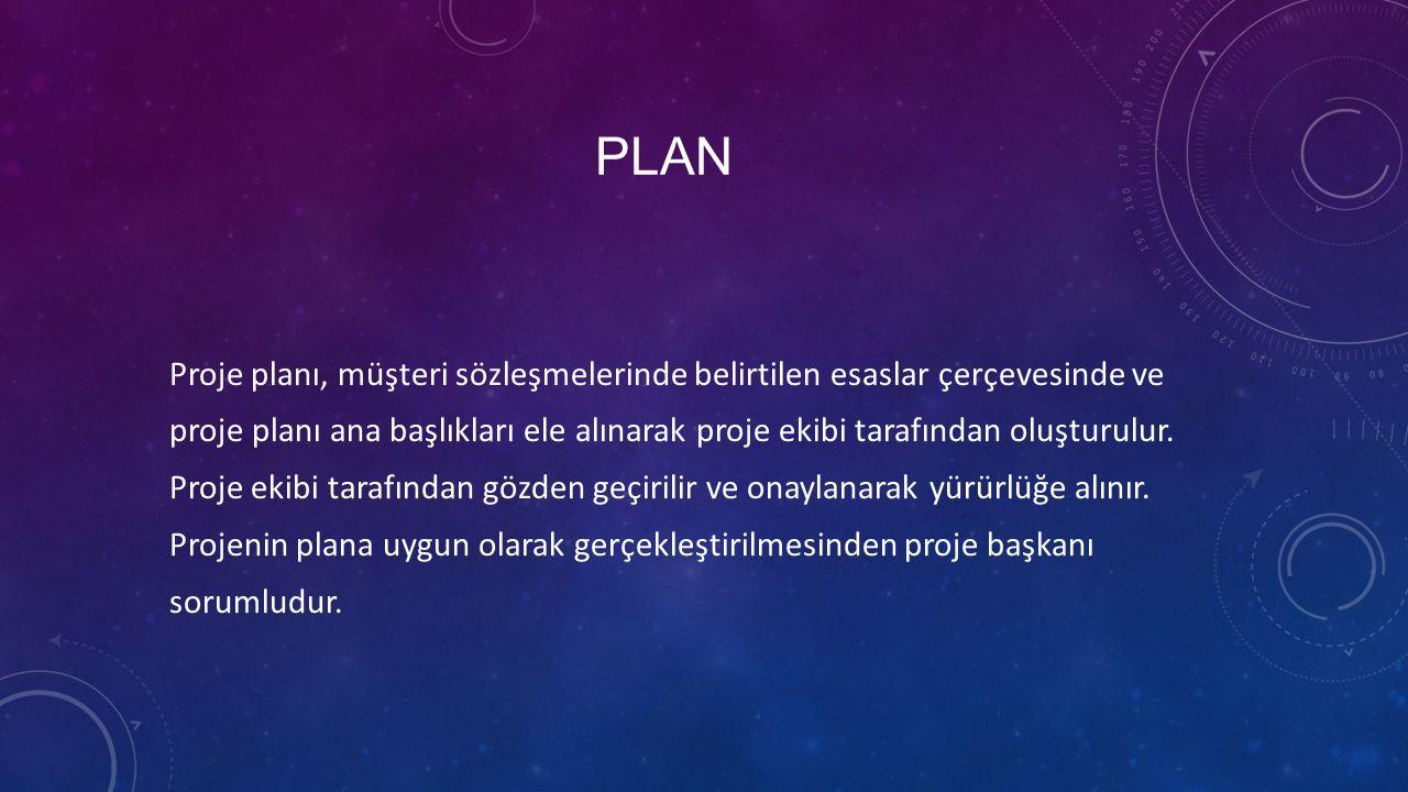 PLAN Proje planı, müşteri sözleşmelerinde belirtilen esaslar çerçevesinde ve proje planı ana başlıkları ele alınarak proje ekibi tarafından oluşturulur.