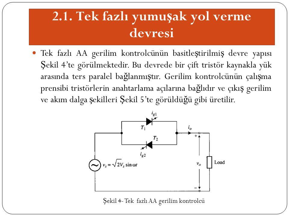 2.1. Tek fazlı yumu ş ak yol verme devresi Tek fazlı AA gerilim kontrolcünün basitle ş tirilmi ş devre yapısı Ş ekil 4'te görülmektedir. Bu devrede bi