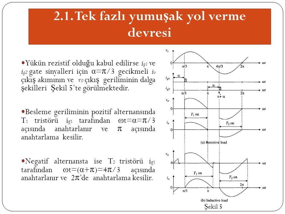 2.1. Tek fazlı yumu ş ak yol verme devresi Yükün rezistif oldu ğ u kabul edilirse i g1 ve i g2 gate sinyalleri için α = π /3 gecikmeli i o çıkı ş akım