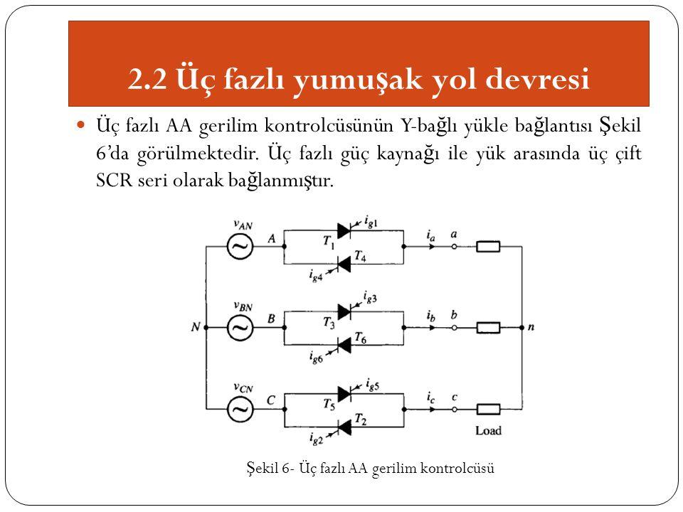 2.2 Üç fazlı yumu ş ak yol devresi Üç fazlı AA gerilim kontrolcüsünün Y-ba ğ lı yükle ba ğ lantısı Ş ekil 6'da görülmektedir.