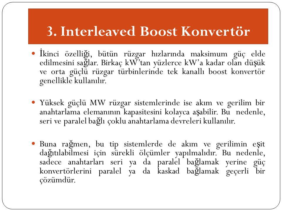 3. Interleaved Boost Konvertör İ kinci özelli ğ i, bütün rüzgar hızlarında maksimum güç elde edilmesini sa ğ lar. Birkaç kW'tan yüzlerce kW'a kadar ol