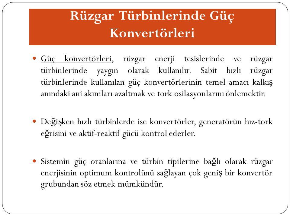 Rüzgar Türbinlerinde Güç Konvertörleri Güç konvertörleri, rüzgar enerji tesislerinde ve rüzgar türbinlerinde yaygın olarak kullanılır.