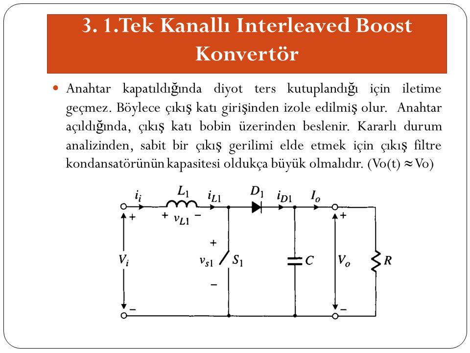 3. 1.Tek Kanallı Interleaved Boost Konvertör Anahtar kapatıldı ğ ında diyot ters kutuplandı ğ ı için iletime geçmez. Böylece çıkı ş katı giri ş inden