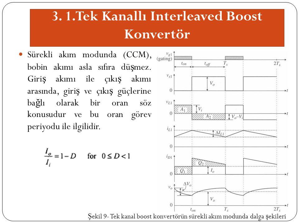 3. 1.Tek Kanallı Interleaved Boost Konvertör Sürekli akım modunda (CCM), bobin akımı asla sıfıra dü ş mez. Giri ş akımı ile çıkı ş akımı arasında, gir