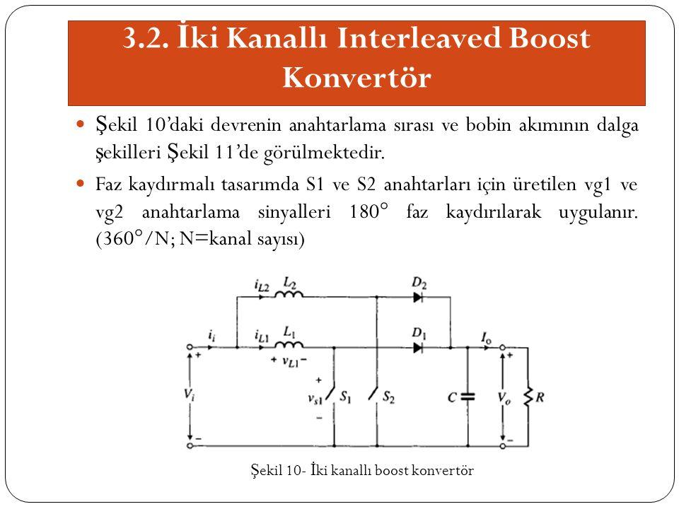 3.2. İ ki Kanallı Interleaved Boost Konvertör Ş ekil 10'daki devrenin anahtarlama sırası ve bobin akımının dalga ş ekilleri Ş ekil 11'de görülmektedir